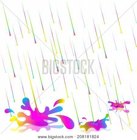 colorful rain drops. Vector illustration. Isolate on white background. The rain of paint. Color rain