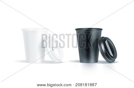 Blank black and white disposable paper cup with opened plastic lid mock up isolated 3d rendering. Empty coffee drinking mug mockup front view. Clear tea take away package cofe branding template.
