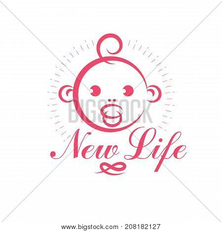 Cute smiling child face vector emblem. Innocent tiny firstborn illustration childcare concept. Neonatal care center conceptual symbol