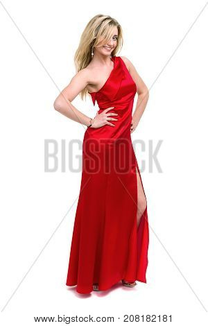 Full length shot of sexy woman in red dress, isolated on white background