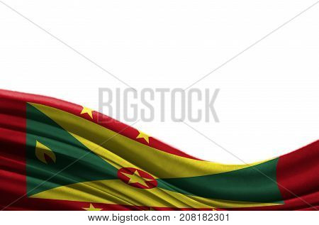 Grunge colorful flag Grenada with copyspace for your text or images,isolated on white background. Close up, fluttering downwind.