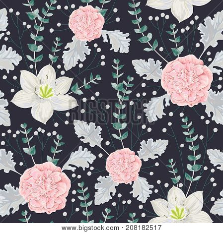 Seamless pattern with pink camellias flowers, eucharis lily, dusty miller, gypsophila and eucalyptus leaf. Vintage winter floral elements. Hand drawn vector illustration in watercolor style
