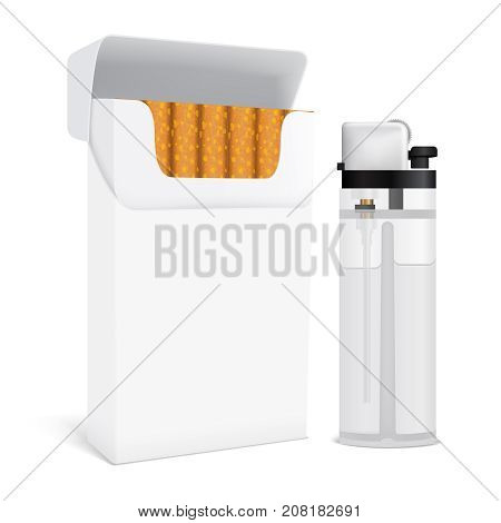 Set for smoking including full open cardboard pack of cigarettes and transparent gas lighter isolated vector illustration