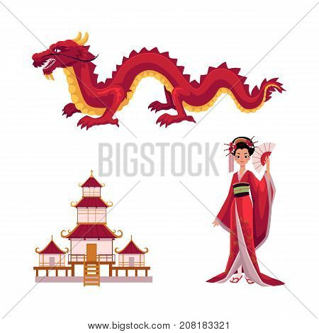Asian japan, china oriental symbols concept set. Red dragon without wings, traditional pagoda building temple, geisha woman with folding fan. Isolated flat vector illustration on a white background.