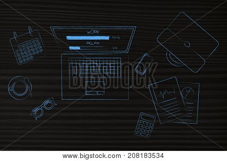 Work And Relax Percentage Bars On Laptop Screen Surrounded By Office Objects With Work Being Predomi