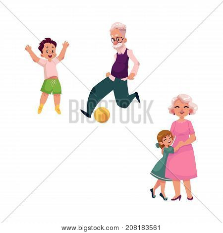 vector flat grandparents and children set. Grandfather and grandson playing football, grandmother hugging with small girl . Isolated illustration on a white background.