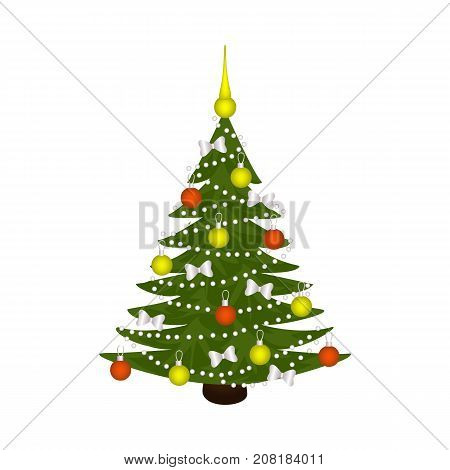 vector flat cartoon spruce tree decorated with balls, bowties and garlands. Isolated illustration on a white background. New year, christmas design symbol