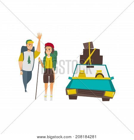 Couple of tourists with backpacks and car with luggage on top, road trip concept, flat vector illustration isolated on white background. Car trip concept - hiking couple and travelling automobile