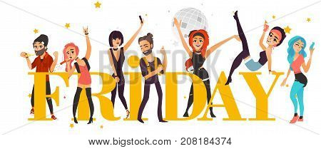 Rock party banner, poster with friends having fun in club, flat cartoon vector illustration isolated on white background. Young people, boys and girls, having fan and party word in big letters