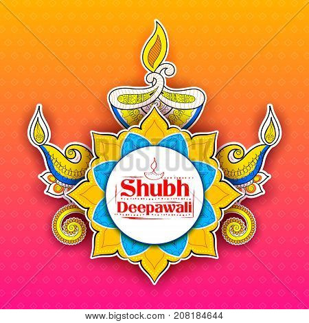 illustration of burning diya on Shubh Deepawali meaning Happy Diwali Holiday background for light festival of India