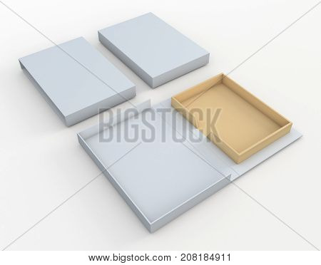 3D rendering 3D illustration mock up new packaging design for book hard cover or other products uses clipping paths included.