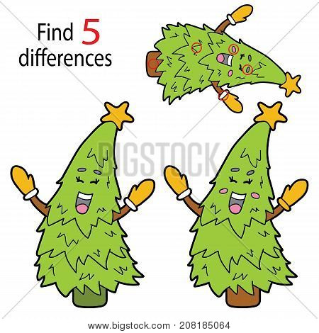 Vector illustration of kids puzzle educational game Find 5 differences for preschool children with cartoon christmas tree character