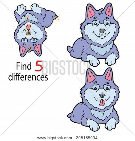 Vector illustration of kids puzzle educational game Find 5 differences for preschool children with cartoon dog character