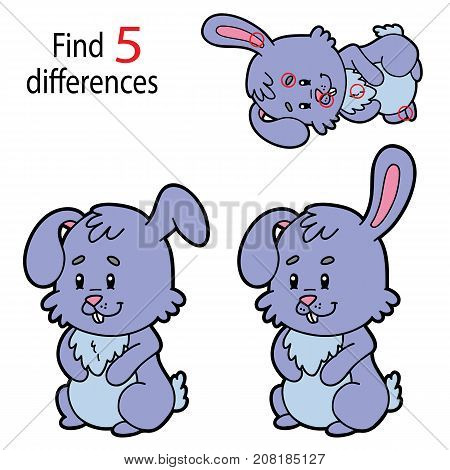 Vector illustration of kids puzzle educational game Find 5 differences for preschool children with cartoon rabbit character