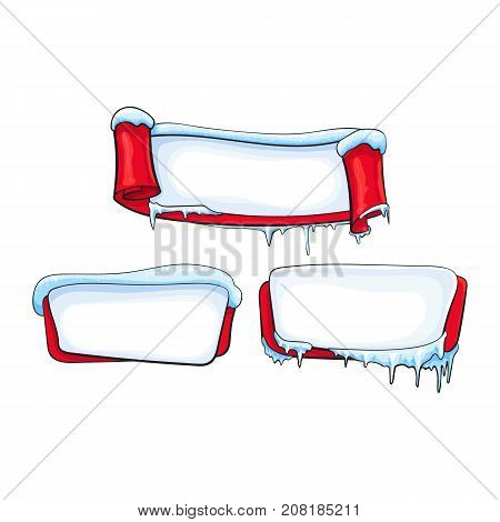 Set of horizontal Christmas, winter banners and scroll with ice, icicles and sparkling snow, sketch cartoon vector illustration isolated on white background. Blank horizontal winter banner templates