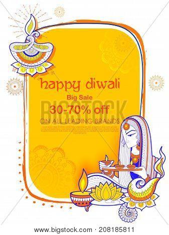 illustration of Lady burning diya on Happy Diwal Holiday Sale promotion advertisement background for light festival of India