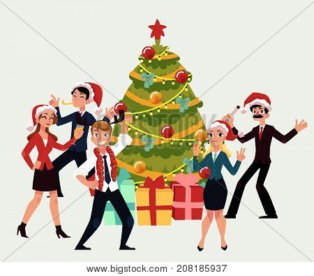 Happy people having corporate Xmas party, dancing around Christmas tree, cartoon vector illustration isolated on white background. Corporate Christmas party - Xmas tree, people in Santa Claus hats