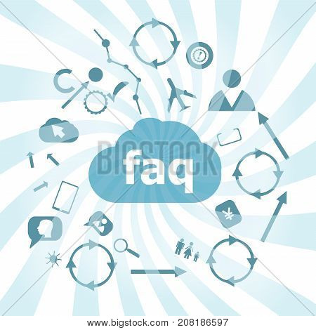 Text Faq. Education Concept. Frequently Asked Questions . Set Of Web Icons For Business, Finance And