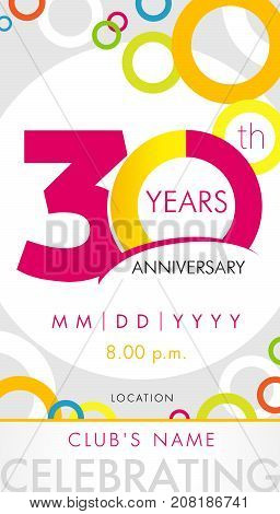 30 years anniversary invitation card, celebration template concept. 30th years anniversary modern design elements with background colored circles. Vector illustration