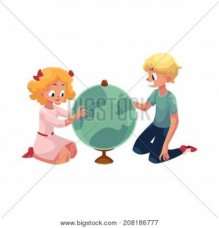 Two kids, children studying a globe together, sitting on the floor cartoon vector illustration isolated on white background. Side view portrait of two kids, children, boy and girl, studying a globe