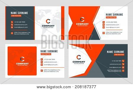 Set Of 4 Business Card Templates. Flat Design Vector Illustration. Stationery Design. Red And Black