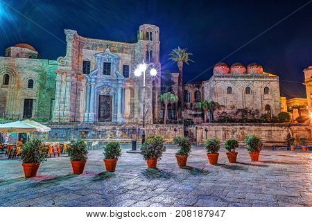 View of Piazza Bellini in Palermo, Sicily, Italy. Beautiful architecture of the historical center