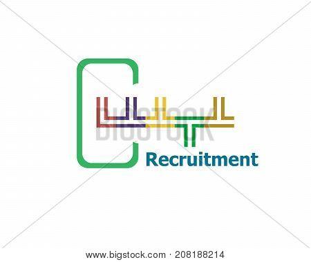 Recruitment . Modern Abstract Design, Business Icon. Geometric Emblem