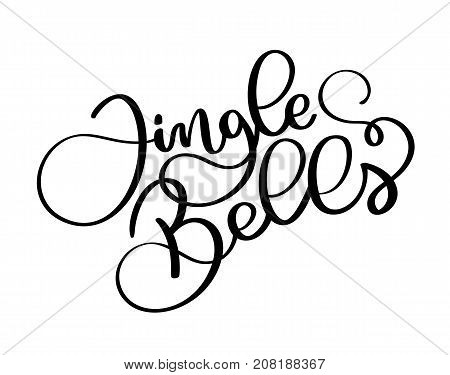 Jingle Bells black calligraphic inscription on a white background. Christmas text
