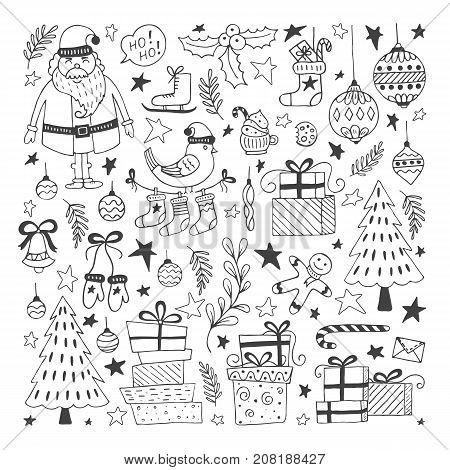 Vector Set of hand drawn outline Christmas illustrations. Clipart collection with Santa Claus, Christmas ball, gifts, christmas tree. Vector elements for Xmas design.