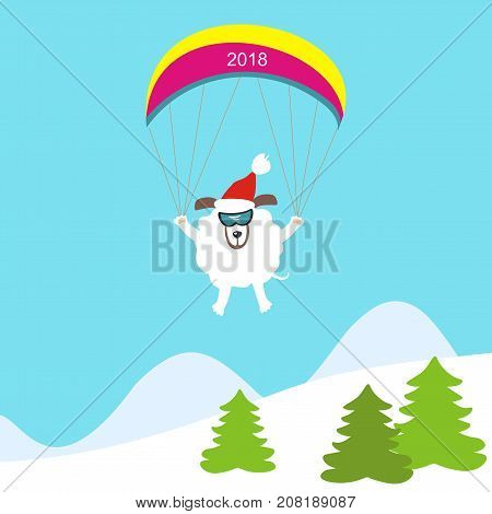 Dog paragliding in the mountains. Symbol of the year 2018. Happy New Year and Merry Christmas! Greeting card. Vector illustration.