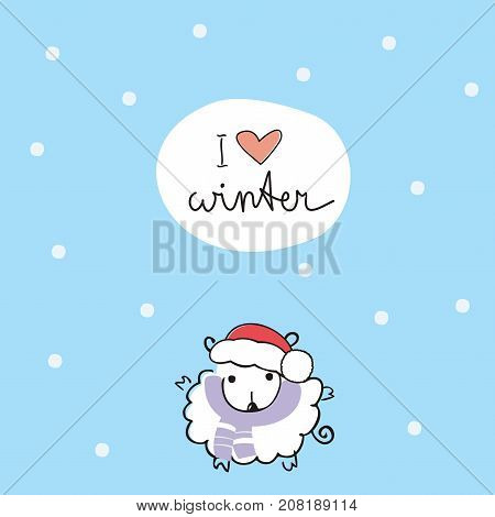 Winter card with cute sheep in a cap of Santa Claus and the inscription: I love winter. Vector illustration. Doodle art.