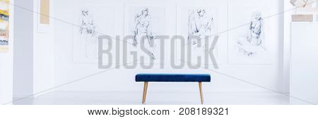 Panorama photo of blue bench standing in front of white wall with drawings of body figures in contemporary art gallery