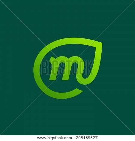 Letter M Eco Leaves Logo Icon Design Template Elements
