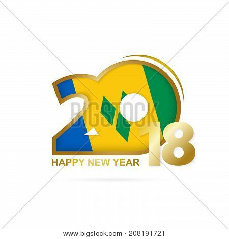 Year 2018 With Saint Vincent And The Grenadines Flag Pattern. Happy New Year Design.