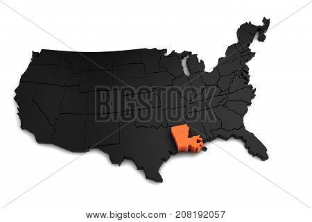 United States of America, 3d black map, with Louisiana state highlighted in orange. 3d render.
