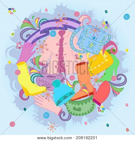 Colorful Hand Drawn Winter Clothes and Handbags. Doodle Drawings shoes on high heel scarf mitten glove and fur coat.. Vector illustration.