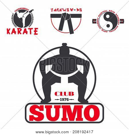 Set of cool fighting club emblems, labels, fight badges, logos. Martial training champion