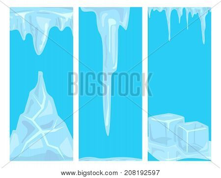 Set of ice caps seasonal style sharp frozen card design. Snowdrifts icicles and elements winter decor vector illustration. Transparent arctic snowy cold water decoration.