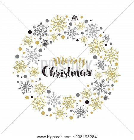 Merry Christmas greeting card template. Modern winter holidays lettering with circle frame from snowflakes on red background. Merry Christmas vector illustration with text.