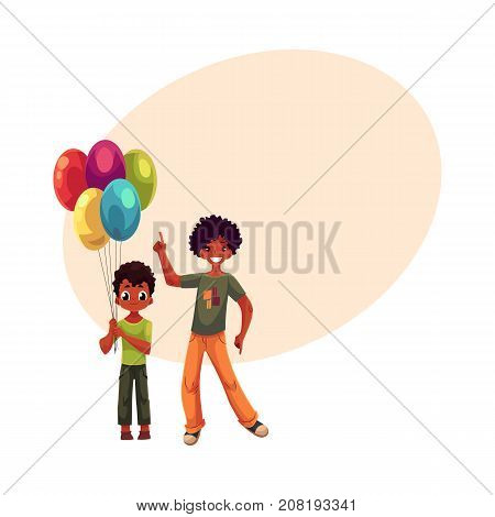 Preschooler and teenage black, African American boys, brothers with balloons, cartoon vector illustration with space for text. Two black kids at birthday party, little and teenager