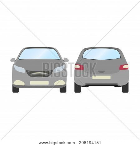 Car vector template on white background. Business hatchback isolated. grey hatchback flat style.front and back view.