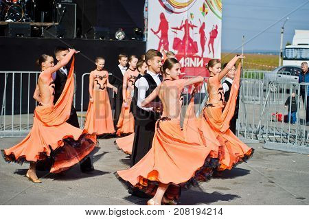 Ternopil, Ukraine - October 1, 2017: Ballroom Dancing Kids At Podolyany Show.