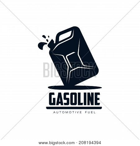 vector oil fuel canister with gasoline drop simple flat icon pictogram isolated on a white background. Gas oil fuel, energy power petroleum industry symbol, sign