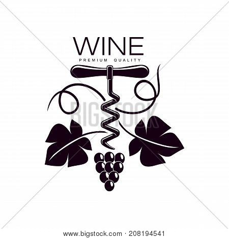 wine corkscrew decorated with grapevine with leaves, ripe grapes and twig. Elegant Company logo, brand icon design. Isolated illustration on a white background.