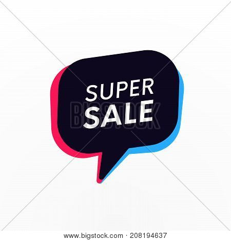 Super Sale Discount Promo Banner. Retro Bubble With Special Offer Tittle. Promotional Trendy Sticker