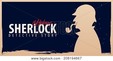 Sherlock Holmes Banners. Detective Illustration. Illustration With Sherlock Holmes. Baker Street 221