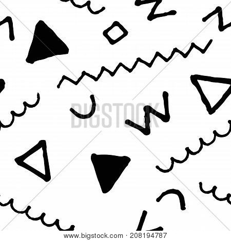 Black and white doodle seamless vector pattern. Doodle minimalist seamless pattern in black and white. Scribbled ornament. Memphis background decor tile. Trendy hipster ink doodle pattern swatch
