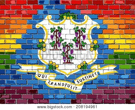 Brick Wall Connecticut and Gay flags - Illustration, Rainbow flag on brick textured background,  Abstract grunge Connecticut Flag and LGBT flag