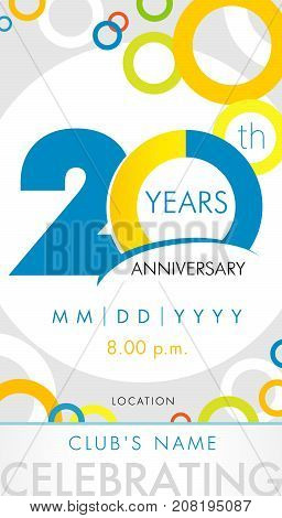 20 years anniversary invitation card, celebration template concept. 20th years anniversary modern design elements with background colored circles. Vector illustration