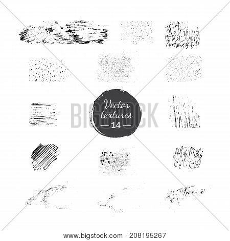 Vector collection of handdrawn textures. Brush strokes, skretches, stippling, hathing for grunge look. Brush templates for vector art. Creative hand painted textures isolated on white background.